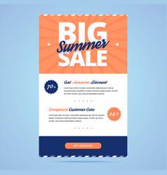 Big summer sale newsletter template vector