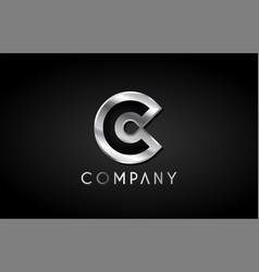 C silver metal alphabet letter icon design vector