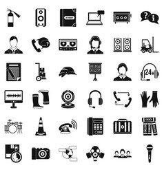 Cassette icons set simple style vector