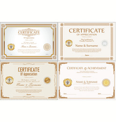 certificate or diploma retro design collection vector image
