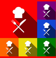 chef with knife and fork sign set of vector image vector image