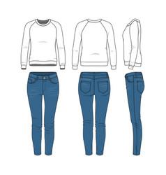 clothing set raglan sweatshirt jeans vector image vector image