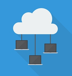 Cloud computing laptop network vector