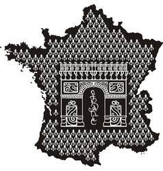 Contour of france with arc de triomphe vector