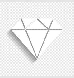 Diamond sign white icon with vector