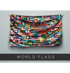 flags of the world in one flag with shadow vector image