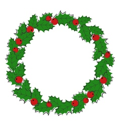 Flat christmas wreath with holly sprigs isolated vector