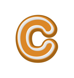 letter c gingerbread peppermint honey-cake font vector image
