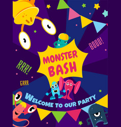 Monster bash party card invitation poster vector
