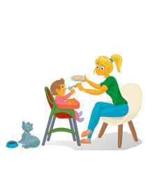 Mother with kid and cat vector