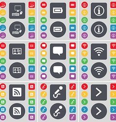 PC Battery Information Contact Chat bubble Wi-Fi vector image vector image