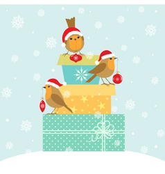 Robins and christmas gifts vector