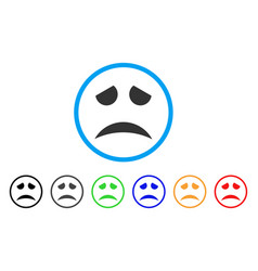 sad face smile rounded icon vector image