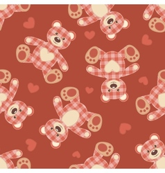 Seamless bear patchwork pattern vector image