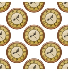 Seamless pattern of vintage clocks vector