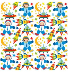 Seamless pattern with astronaut ufo rocket vector
