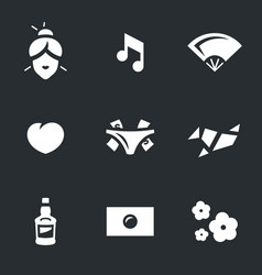 set of japanese geisha icons vector image vector image