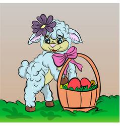 Sheep cartoon with easter egg vector
