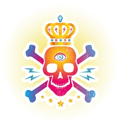 skull eye colorful vector image