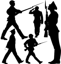 Soldiers marching and sentry guard silhouettes vector image