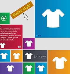 T-shirt clothes icon sign metro style buttons vector