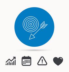 Target with arrow icon dart aim sign vector