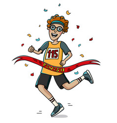 Teenager runner cross the finish line cartoon vector
