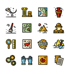 Thin line archeology icons set vector