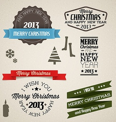 Vintage retro christmas elements vector image