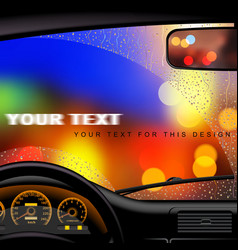 Windshield in rain vector image vector image