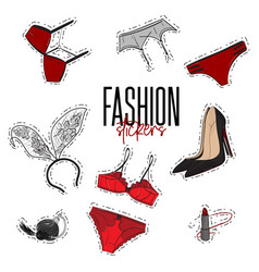 woman trendy fashionable stickers with bra vector image vector image