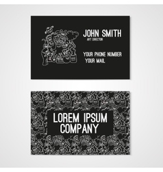 Business card template whit funny doodle monstes vector