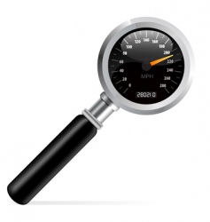 Speedometer in magnifier vector
