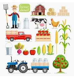 Set of farmer element Farmer and Farm animals vector image