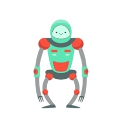 Green And Red Ape Like Friendly Android Robot vector image