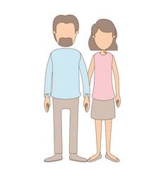 light color caricature faceless full body couple vector image