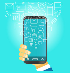 Man holding modern smartphone with falling icons vector