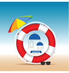 Santorini greek island in live saver and umbrella vector