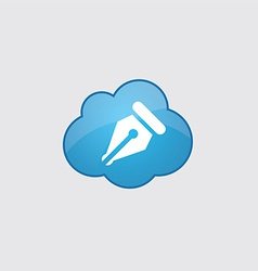 Blue cloud pen icon vector