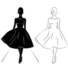 Woman silhouette on the runway vector