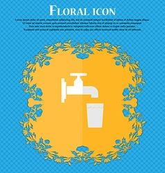Faucet glass water floral flat design on a blue vector