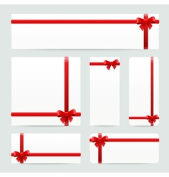 Red bows and ribbons set vector