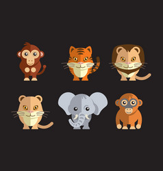 A cute exotic wild animals vector