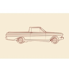 American muscle car pickup silhouette 60s vector image vector image