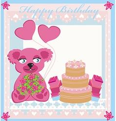 Birthday card sweet teddy bear holding heart vector