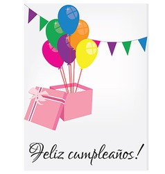 Birthday postcard with text happy birthday vector image
