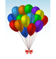 Bunch of realistic colorful helium balloons vector