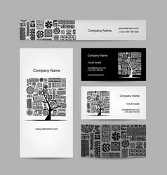 business cards design ethnic tree vector image vector image