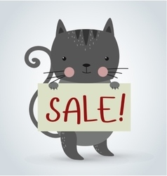 Cat pet animal holding strike clean plate board vector