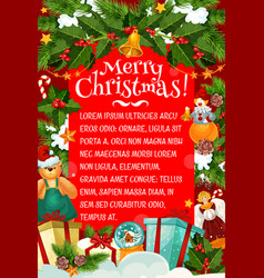 christmas card of winter holiday gift and garland vector image
